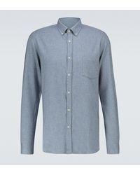 Sunspel Long-sleeved Cotton Shirt - Blue