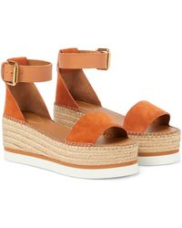 See By Chloé Glyn Leather And Suede Espadrille Sandals - Natural