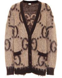 Gucci Wendbarer Cardigan aus Mohairwolle mit GG Muster - Natur