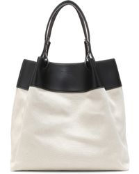 Bottega Veneta Quad Leather-trimmed Linen Tote - Black
