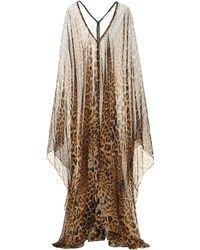 Saint Laurent Leopard Silk Kaftan - Brown