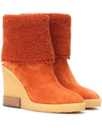 Tod's Suede Wedge Ankle Boots - Orange