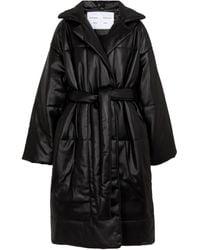 Proenza Schouler White Label Faux Leather Puffer Coat - Black