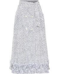 Max Mara Canneti Dotted Taffeta Midi Skirt - White
