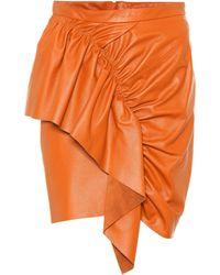 Isabel Marant Nela Leather Miniskirt - Orange