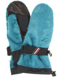 3 MONCLER GRENOBLE Shearling Leather Gloves - Blue