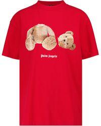 Palm Angels Camiseta de algodón con logo - Rojo