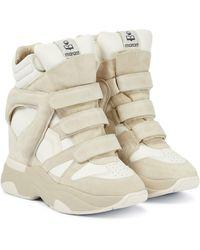 Isabel Marant Sneakers Balskee in suede con zeppa - Bianco