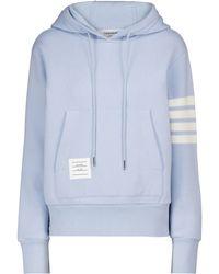 Thom Browne Sweat-shirt à capuche en cachemire et coton mélangés - Bleu