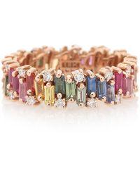 Suzanne Kalan Anello Rainbow Fireworks in oro rosa 18kt con diamanti e zaffiri - Multicolore
