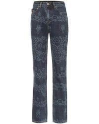 Ganni Printed High-rise Straight Jeans - Blue