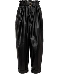 Balmain High-rise Leather Paperbag Pants - Black