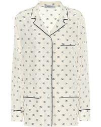Valentino Blusa pigiama VLOGO a stampa in seta - Bianco
