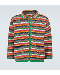 The Elder Statesman Hand-knitted Wave Zipped Jacket - Multicolour