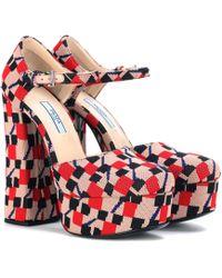 Prada - All Designer Products - Jacquard Ankle-strap Platform Pumps - Lyst