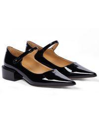 MM6 by Maison Martin Margiela Patent Leather Mary Jane Ballet Flats - Black