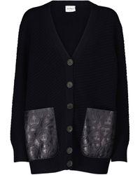 Ferragamo Leather-trimmed Wool Cardigan - Blue