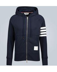 Thom Browne 4-bar Zip-up Hooded Sweatshirt - Blue