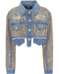 Balmain Embroidered Cropped Denim Jacket - Blue