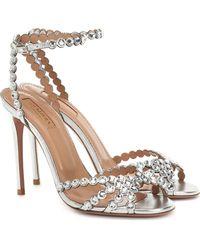 Aquazzura Studio Crystal Embellished Sandals - Metallic
