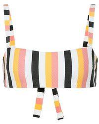 Asceno Striped Wrap Bandeau Bikini Top - Multicolor