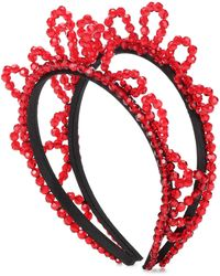 Simone Rocha Diadema adornada con cristales - Rojo