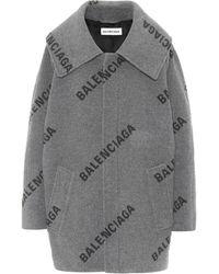 Balenciaga Logo Cashmere Coat - Grey