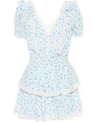 LoveShackFancy Carlo Ruffled Cotton Minidress - Blue