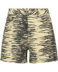 Ganni Shorts vaqueros con estampado de tigre - Negro