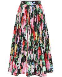 Richard Quinn High-rise Floral-print Pleated Chiffon Skirt - Multicolor