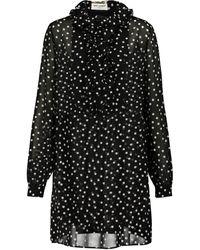 Saint Laurent Vestido corto de muselina de seda - Negro