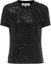 Diane von Furstenberg Melina Sequined Top - Black