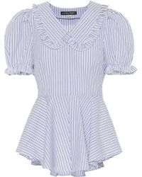 ALEXACHUNG Striped Cotton Blouse - Blue