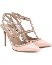 Valentino Garavani Rockstud Patent-leather Court Shoes - Pink