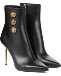 Balmain Ankle Boots Roni aus Leder - Schwarz
