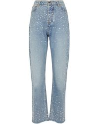 Alexandre Vauthier High-rise Embellished Straight Jeans - Blue