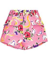 Alessandra Rich Bedruckte Shorts aus Baumwolle - Pink
