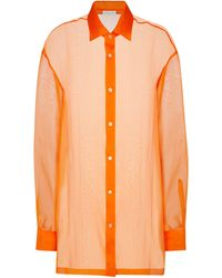 Dries Van Noten Camicia in organza di seta - Arancione