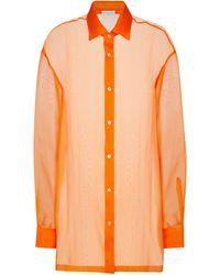 Dries Van Noten Hemd aus Seidenorganza - Orange