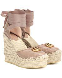 Gucci Marmont Leather Platform Espadrilles - Multicolor