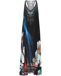 Camilla Vestido largo de seda floral - Negro