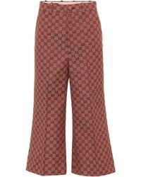 Gucci Pantalon raccourci en jacquard - Multicolore