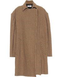 Balenciaga Karierter Mantel aus einem Wollgemisch - Natur