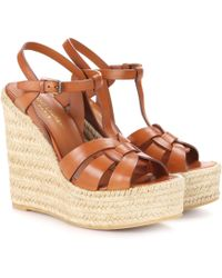Saint Laurent - Espadrille Wedge Leather Sandals - Lyst