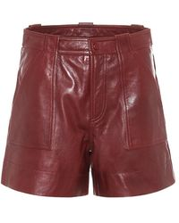 Ganni Shorts in pelle - Rosso