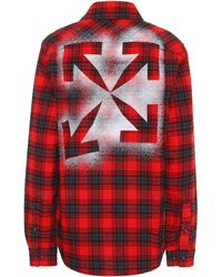 Off-White c/o Virgil Abloh Checked Cotton-blend Flannel Shirt - Red