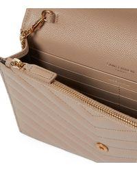 Saint Laurent Envelope Small Leather Shoulder Bag - Natural