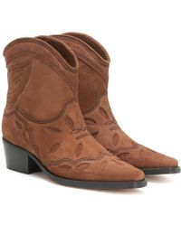 Ganni Low Texas Boots - Brown