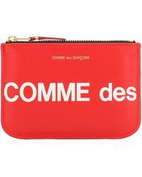 Comme des Garçons Red Cowhide SA 8100 Große Logo-Geldbörse mit Reißverschluss - Rot