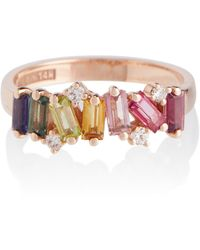 Suzanne Kalan - Ring Rainbow aus 14kt Gold mit Diamanten und Saphiren - Lyst